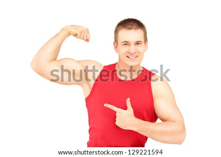 Muscular young man showing his biceps isolated on white background - stock photo