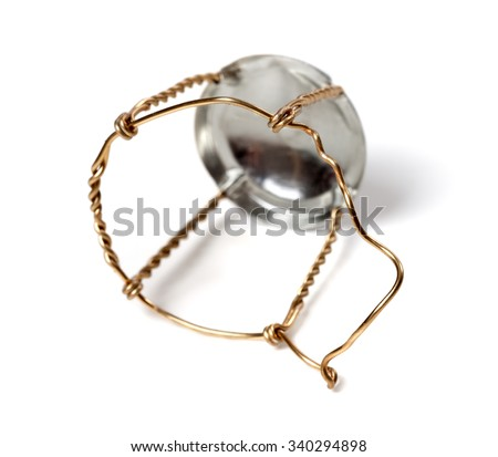 Muselet from bottle of champagne. Isolated on white background. Selective focus. - stock photo