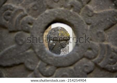Museo Dolores Olmedo aztec sculptures installation view through  - stock photo