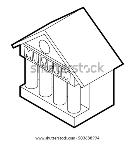Museum building icon in outline style on a white background  illustration