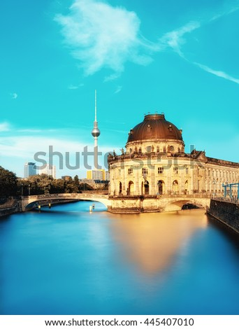 Museum island in Berlin on river Spree early afternoon. This image is toned. Space for your text. - stock photo