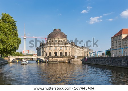 Museum island on Spree river and Alexanderplatz TV tower in center of Berlin, Germany - stock photo