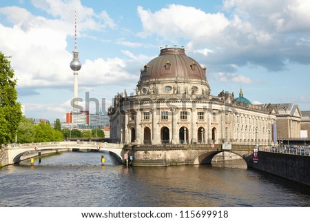 Museum Island on Spree river, Bode museum and Tv Tower view, Berlin - stock photo