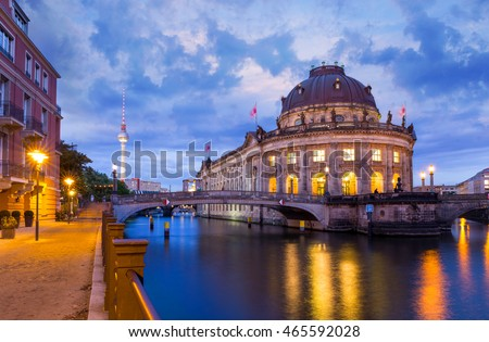 Museum Island with TV Tower in the background at night