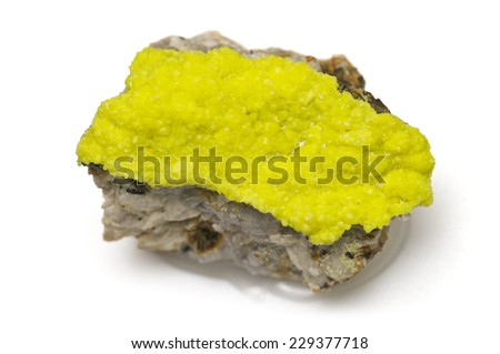 MUSEUM MINERAL SERIES: Uranium ore (meta-autunite) from miniera Assuncao, Fereira de Aves, Portugal. Isolated on white, 4cm across. - stock photo