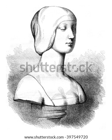 Museum of Louvre, the Renaissance sculpture gallery, vintage engraved illustration. Magasin Pittoresque 1857. - stock photo