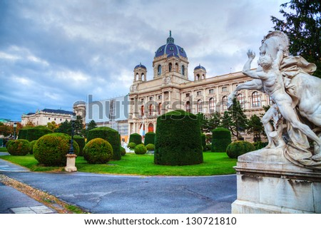 Museum of Natural History in Vienna, Austria in the evening - stock photo