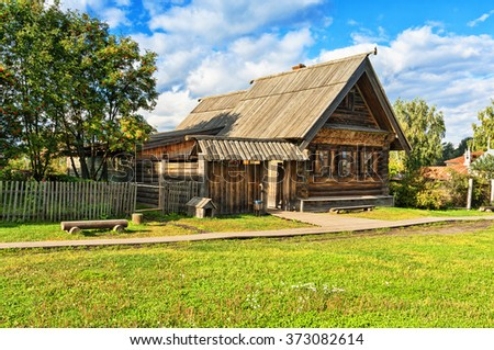 Museum of wooden architecture in Suzdal, Russia. The golden ring of Russia.