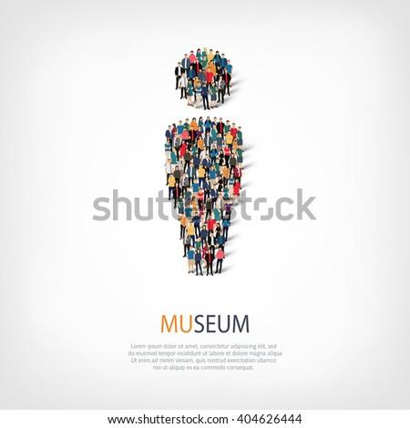 museum people symbol - stock photo