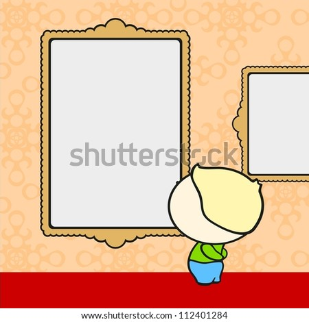 Museum visitor (raster version) - stock photo