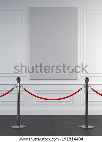 Museum wall with blank picture - stock photo