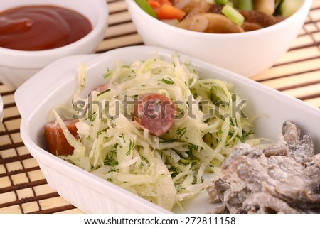 mushroom and cabbage salad with green parsley - stock photo