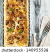 Mushroom and cheese tart - stock photo