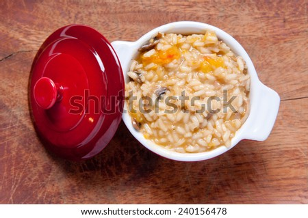 mushroom and tomato risotto - stock photo