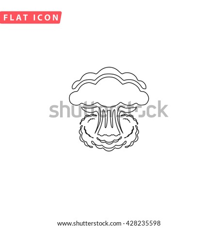 Mushroom cloud, nuclear explosion, silhouette. Black outline simple pictogram on white. Line icon - stock photo