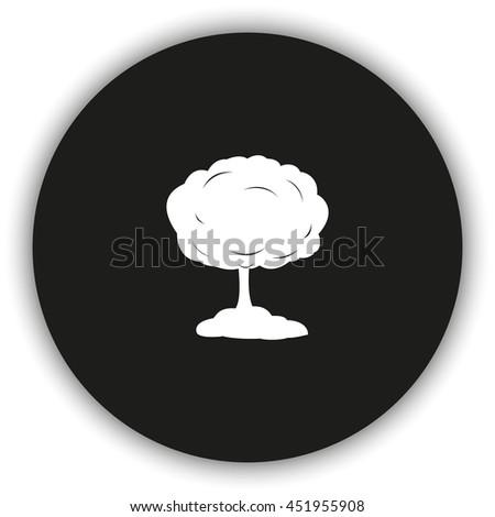 Mushroom cloud, nuclear explosion, silhouette. Flat icon. - stock photo