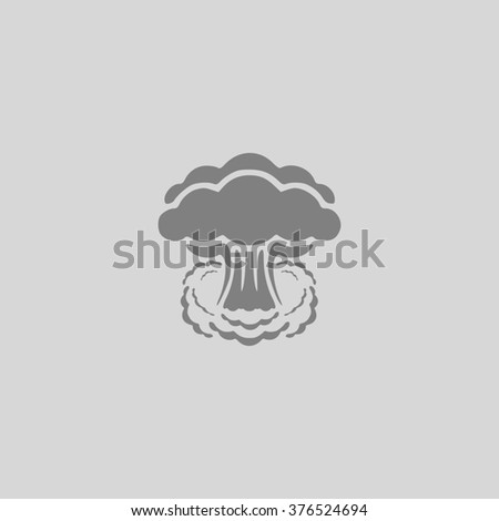 Mushroom cloud, nuclear explosion, silhouette. Grey simple flat icon