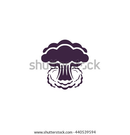 Mushroom cloud, nuclear explosion, silhouette. Simple blue icon on white background - stock photo