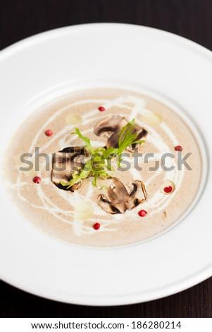 Mushroom cream soup  - stock photo
