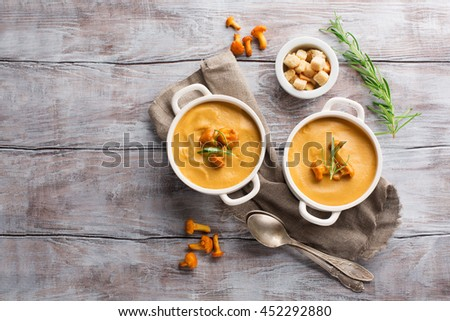 Mushroom cream soup with chanterelles and herbs on a white rustic wooden background, top view