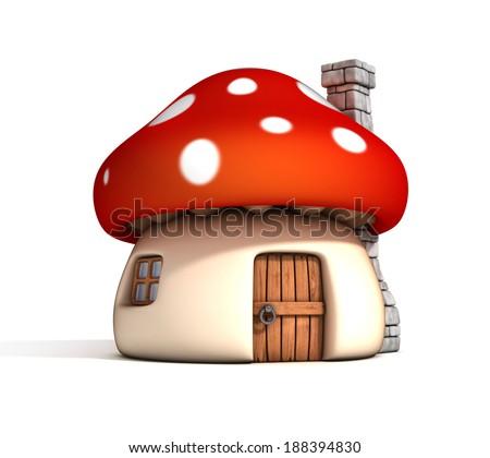 mushroom house 3d illustration - stock photo