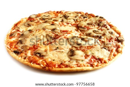 Mushroom pizza vegetarian on white background isolated