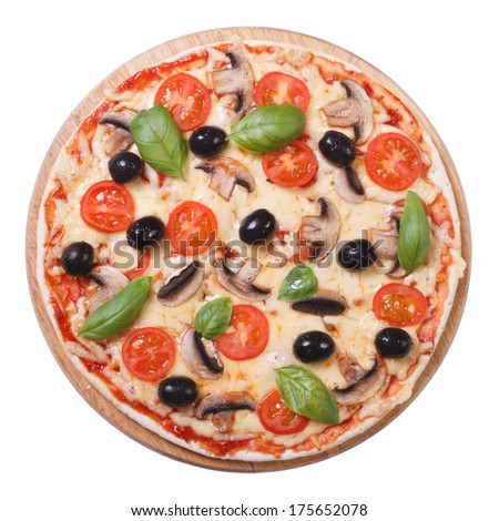 Mushroom pizza with olives, tomato and basil isolated on white background  - stock photo