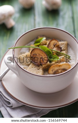 Mushroom pottage with bread croutons on green table - stock photo