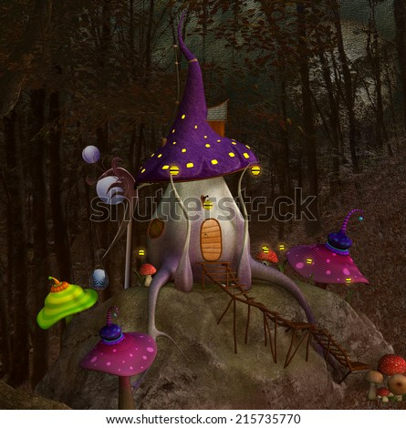 Mushroom's hill - stock photo