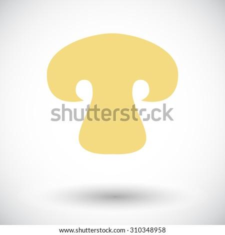 Mushroom. Single flat icon on white background.  illustration. - stock photo