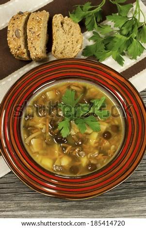 Mushroom soup in ceramic  bowl - stock photo