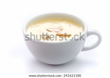 mushroom soup on a white background - stock photo