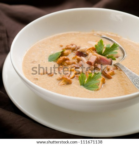 Mushroom soup with chanterelle, fiber nuts and bacon, selective focus