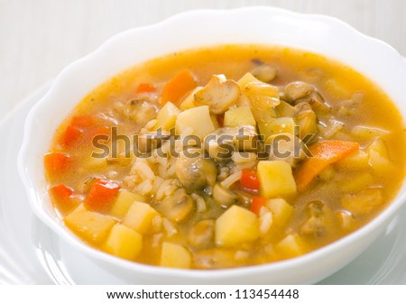 mushroom soup with potato and rice
