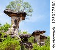 Mushroom stone and blue sky,The Natural Stone as Mushrooms in Pha Taem National Park,Ubonratchathanee Province,Thailand - stock photo