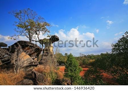 Mushroom stone at Pha Taem National Park in Ubon Ratchathani ,Thailand  - stock photo