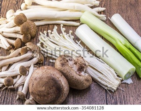 Mushrooms and vegetables