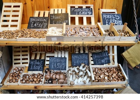 Mushrooms at London Borough Market, UK. - stock photo