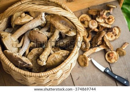 mushrooms in a basket on a wooden floor - stock photo