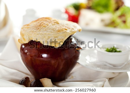 Mushrooms Soup Pot. Selective Focus - stock photo