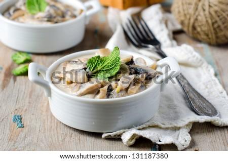 Mushrooms stewed - stock photo