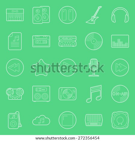 Music and audio thin lines icons set - stock photo