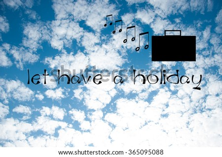 music and bag on the blue sky background - stock photo