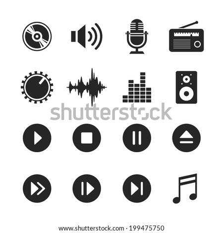 Music and sound icons. Raster version. Simplus series - stock photo