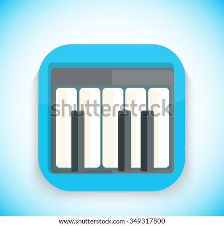 Music app icon flat style design. Music logo, movie icon, sound musical button, piano web application, audio instrument, play melody, multimedia internet illustration. Raster version - stock photo