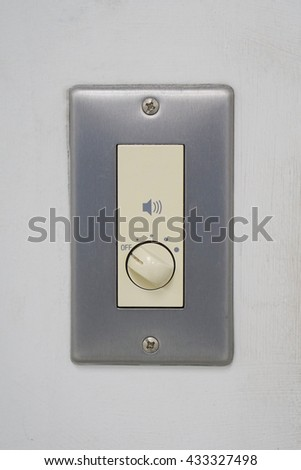 Music audio sound volume knob button minimum maximum level.
