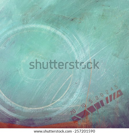 Music background: oil paints on canvas closeup and speaker - stock photo