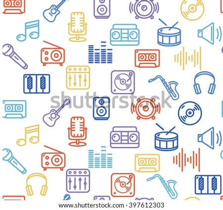 Music Background Outline Colorful Icon Set. illustration