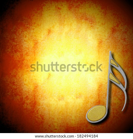 music background silver and gold note on grunge background blank - stock photo