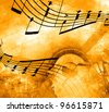 Music background with notes - stock photo